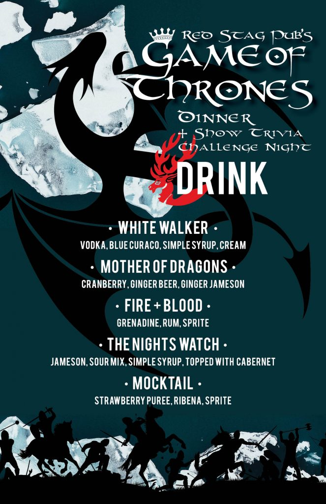 Game of Thrones Dinner and Show Trivia Challenge Night Drink Menu